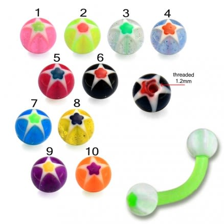 3mm balls UV Flexible Curved Acrylic Banana Eyebrow Ring