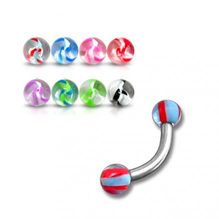 SS Eyebrow Banana Bar Ring with Multi Color UV Balls Body Jewelry