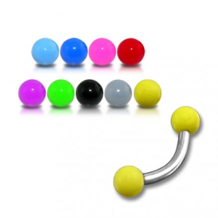 SS Lip Curved Bar Ring with Yellow UV Balls