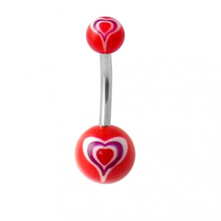 Belly Bar with Heart UV balls