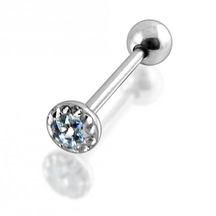 316L Surgical Steel Tongue Barbell With Epoxy Covered Crystals Body Jewelry
