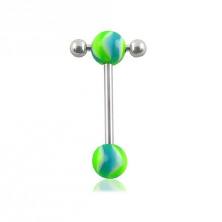 Green Glow UV balls With 316L Tongue Barbell Ring
