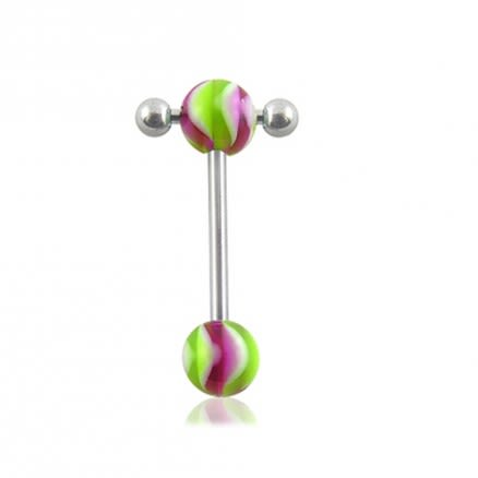316L Tongue Barbell Green And Red Glow UV balls