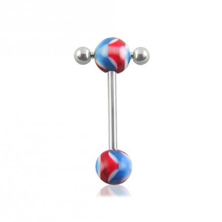 316L Tongue Barbell with UV Acrylic Balls
