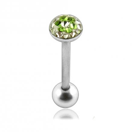 Tongue Barbell with Green Epoxy covered crystals