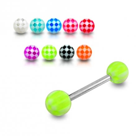 SS Tongue Barbell with Green Checkered UV Balls Body Jewelry