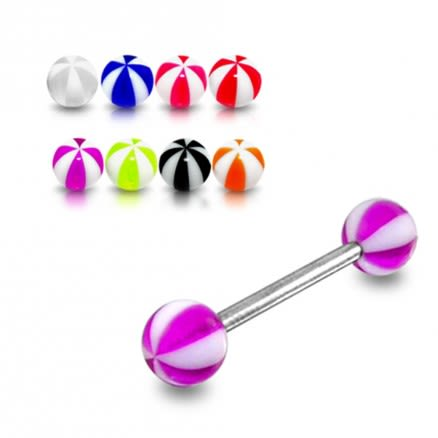 SS Tongue Barbell with Purple And White UV Beach Color Balls