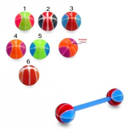 Mixed Color UV Barbell Ball Cap Stud Ear Lip Ring