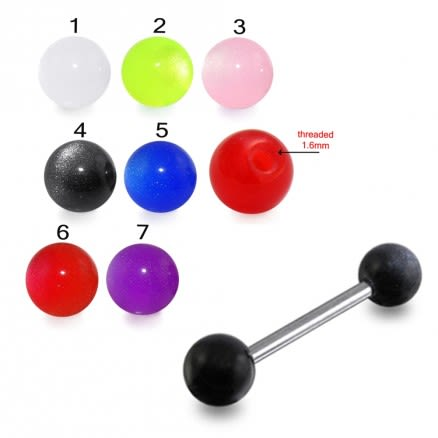 SS Tongue Barbell with Z Black Color UV Balls