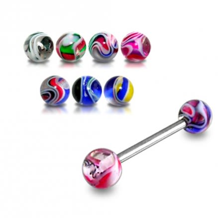 SS Tongue Barbell with Mix Color Marble Design UV Balls