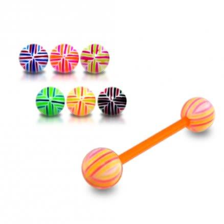 Orange UV Tongue Barbell with Mix Color UV Balls