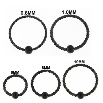 Flexible Black PVD Surgical Steel Twisted BCR Piercing