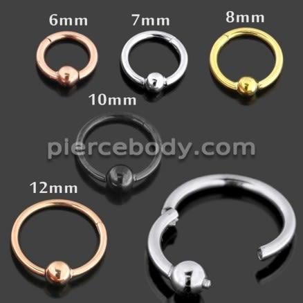 Chirurginio plieno BCR Clicker auskarų žiedas