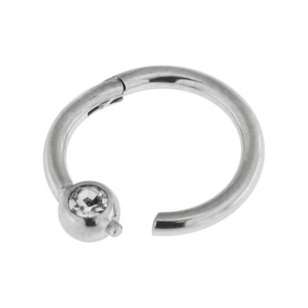 Surgical Steel BCR Clicker with CZ Stone Piercing Ring