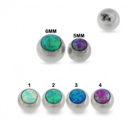 Surgical Steel Synthetic Opal Ball