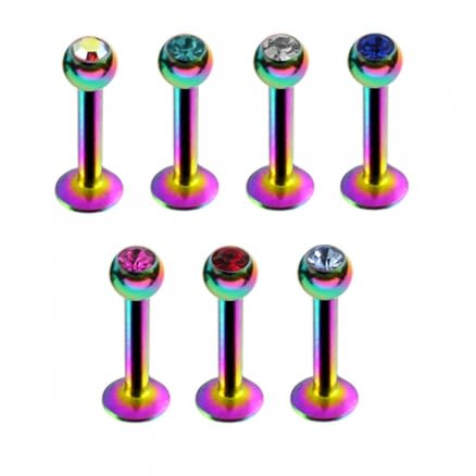 Rainbow Anodized Labrets with Stone Ball