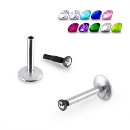 16G Steel Labret with Jeweled Drum
