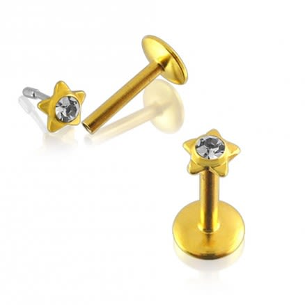 Star Shaped Gold Plated jewelled Madonna Labret
