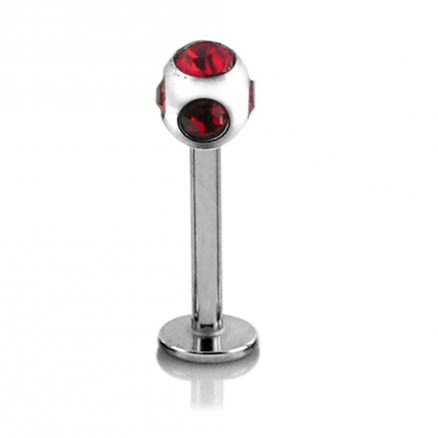 316L SS Labret With multi stone ball