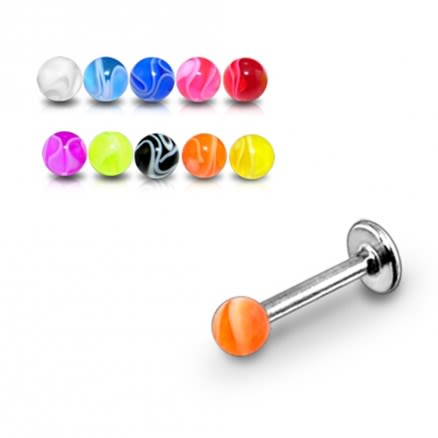 SS Labret With UV Fancy Marble Look Balls