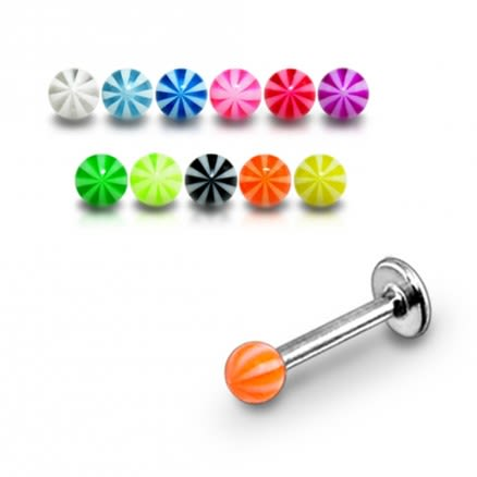 Surgical Steel Labret With UV Fancy Balls