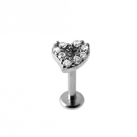 Micro Setting Jeweled Heart Madonna Labret