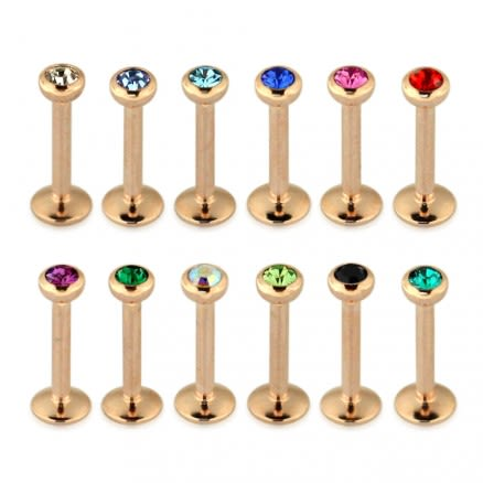Rose Gold Anodized 3MM Stone Jeweled Top Madonna Labret Piercing