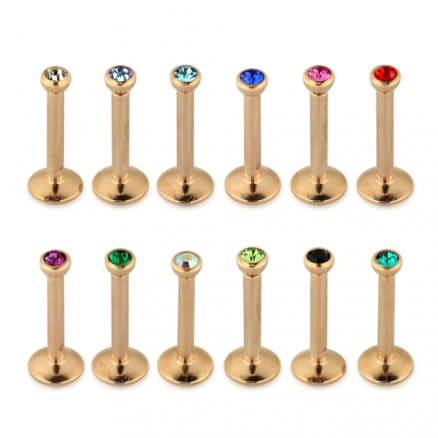 Rose Gold Anodized 2MM Stone Jeweled Top Madonna Labret Piercing