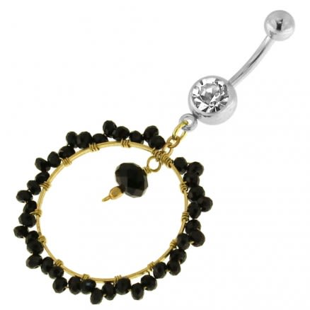 Single Jeweled Banana with 24 mm Round Hanging Black Beads Navel Belly Ring