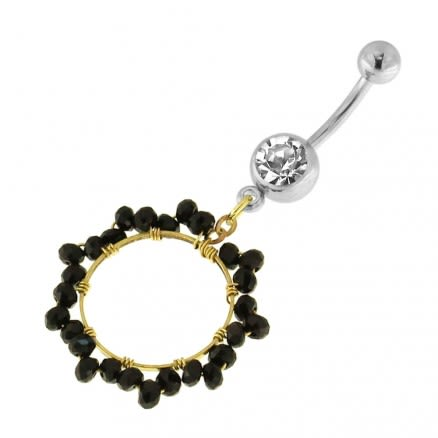 Single Jeweled Banana with 15 mm Round Hanging Black Beads Navel Belly Ring