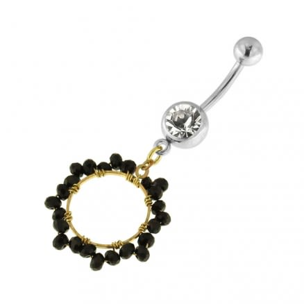 Single Jeweled Banana with 12 mm Round Hanging Black Beads Navel Belly Ring