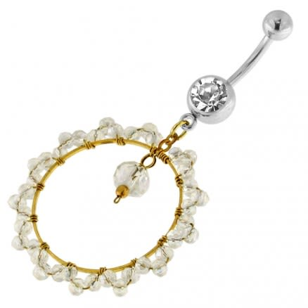 Single Jeweled Banana with 24 mm Round Hanging Crystal Beads Navel Belly Ring