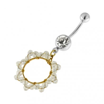Single Jeweled Banana with 12 mm Round Hanging Crystal Beads Navel Belly Ring