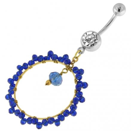 Single Jeweled Banana with 24 mm Round Hanging Blue Beads Navel Belly Ring