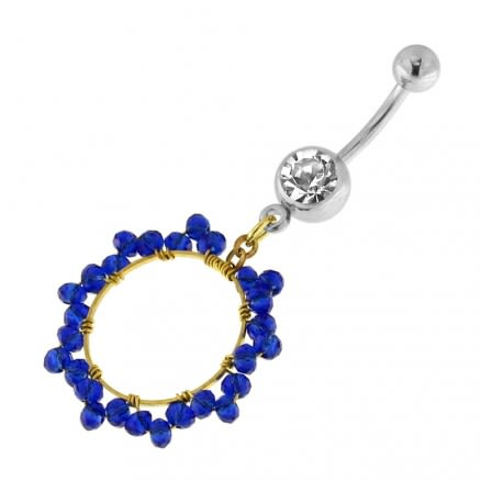 Single Jeweled Banana with 15 mm Round Hanging Blue Beads Navel Belly Ring