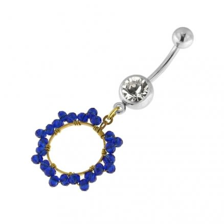Single Jeweled Banana with 12 mm Round Hanging Blue Beads Navel Belly Ring