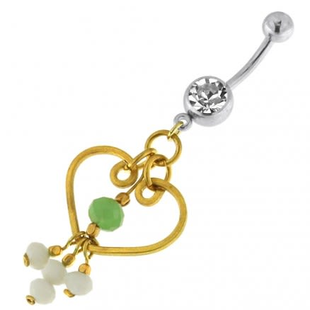 Single Jeweled Banana with Heart Hanging White Beads Navel Belly Ring