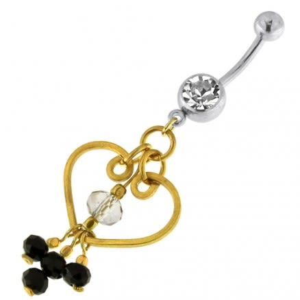 Single Jeweled Banana with Heart Hanging Black Beads Navel Belly Ring