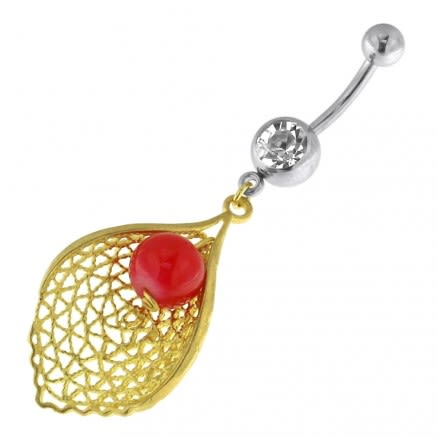 Single Jeweled Banana with Leaf Hanging Red Bead Navel Belly Ring