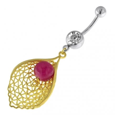 Single Jeweled Banana with Leaf Hanging Purple Bead Navel Belly Ring