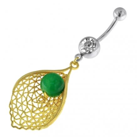 Single Jeweled Banana with Leaf Hanging Green Bead Navel Belly Ring