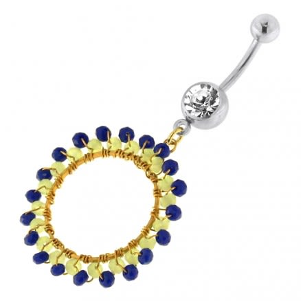 Single Jeweled Banana with Round Hanging Blue Beads Navel Belly Ring
