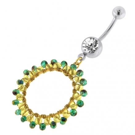 Single Jeweled Banana with Round Hanging Yellow Beads Navel Belly Ring