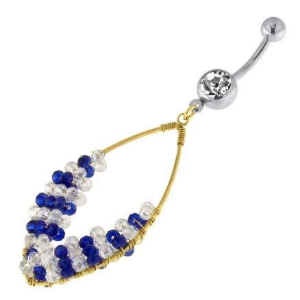 Single Jeweled Banana with Ellipse Hanging crystal Beads Navel Belly Ring