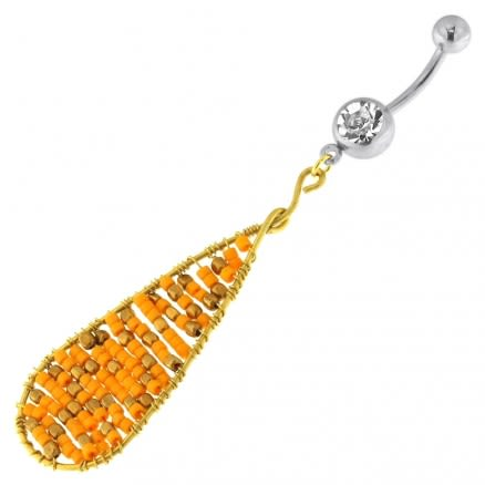 Single Jeweled Banana with Long Oval Hanging Orange Beads Navel Belly Ring
