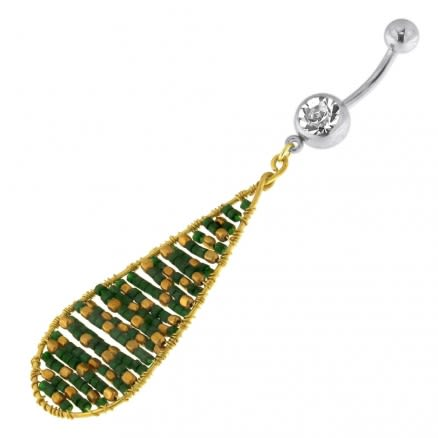 Single Jeweled Banana with Long Oval Hanging Green Beads Navel Belly Ring
