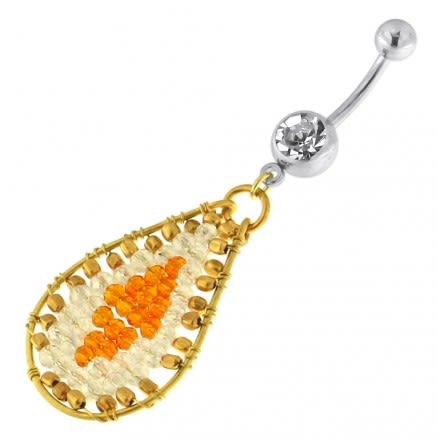 Single Jeweled Banana with Oval Hanging Beads Navel Belly Ring