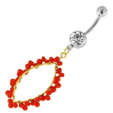 Single Jeweled Banana with Ellipse Hanging Ruby Beads Navel Belly Ring