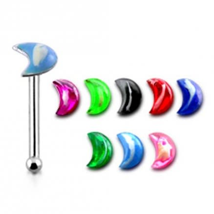 Hand Painted 2 Color Crescent Ball End Nose Pin