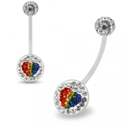 Multi Crystals jeweled Colorful Heart Transparent BioFlex with Crystal Ferido Ball Top pregnancy Belly Ring